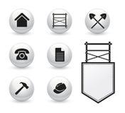 Uppsättning av symboler för material till byggnadsställningföretag Arkivfoton