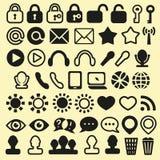 Uppsättning av symboler för mobil, massmedia och rengöringsduk Arkivbild