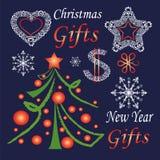 Uppsättning av symboler för nytt år och jul Royaltyfria Bilder