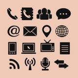 Uppsättning av symboler för rengöringsduk och mobil Royaltyfri Bild