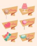 Uppsättning av symboler för sötsak, godis, kaka och förälskelse Arkivbild