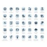 Uppsättning av symboler för SEO-företagsservice och internetmarknadsförings Royaltyfri Foto