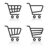 Uppsättning av symboler för shoppingvagn Arkivbilder