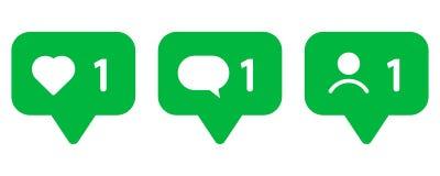 Uppsättning av symboler för sociala nätverk Som, meddelande och användare royaltyfri illustrationer
