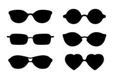 Uppsättning av symboler för solexponeringsglas som isoleras på den vita vektorillustrationen Arkivbilder