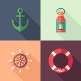 Uppsättning av symboler för sommarlägenhetfyrkant med långa skuggor Arkivfoto
