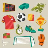 Uppsättning av symboler för sportfotbollfotboll Royaltyfri Fotografi