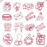 Uppsättning av symboler för St.-valentin dag royaltyfri illustrationer
