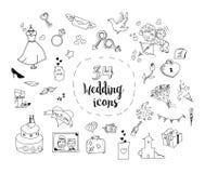 Uppsättning av symboler för tecknad filmbrölloptema Arkivbilder