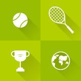 Uppsättning av symboler för tennis Plan stil också vektor för coreldrawillustration Royaltyfri Foto