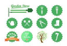 Uppsättning av symboler för trädgårds- Website Arkivfoton
