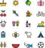 Uppsättning av symboler för utomhus- aktivitet Arkivbilder