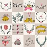 Uppsättning av symboler för valentindag-, för moderdag, bröllop-, förälskelse- och romantikerhändelser Fotografering för Bildbyråer