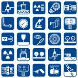 Uppsättning av symboler för vektorlägenhetdesign av ndt-metoder royaltyfri illustrationer