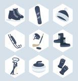 Uppsättning av symboler för vintersport Arkivfoton