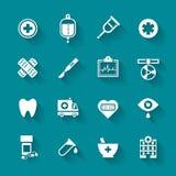 Uppsättning av symboler för vitlägenhetläkarundersökning Royaltyfri Fotografi