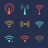 Uppsättning av symboler för wi fi för affär eller kommersiellt bruk stock illustrationer