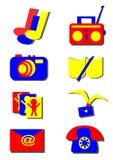 Uppsättning av symboler, hjälpmedel Royaltyfri Illustrationer
