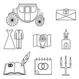 Uppsättning av 9 symboler i en linjär stil Arkivfoto