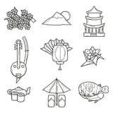 Uppsättning av symboler i hand dragen översiktsstil på Japan Arkivfoton