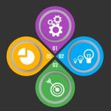 Uppsättning av symboler i knappar med mekaniska kugghjul, elektriska lampor royaltyfri illustrationer