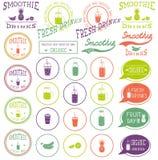 Uppsättning av symboler, logoen, beståndsdelar, symboler, emblem och etiketter - smoothie, kaffe som går, frappe, fruktsaft, fruk Arkivbild