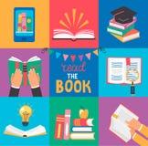Uppsättning av 9 symboler med bokbegrepp royaltyfri illustrationer