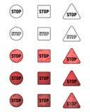 Uppsättning av symboler med ett STOPPtecken Samling av att varna för symboler Arkivfoto
