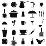 Uppsättning av symboler med köksgeråd, Royaltyfri Fotografi