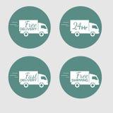 Uppsättning av symboler med leveransbilen av gods på Arkivfoton