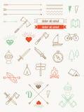 Uppsättning av symboler, objekt, emblemhipsterstil Arkivbilder