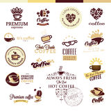 Uppsättning av symboler och emblem för kaffe stock illustrationer