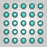 Uppsättning av symboler och knappar Fotografering för Bildbyråer