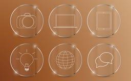 Uppsättning av symboler på den glass cirkeln med den metalliska kanten vektor illustrationer