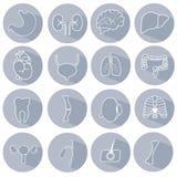 Uppsättning av symboler på ett medicinskt tema stock illustrationer