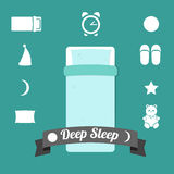 Uppsättning av symboler på ett tema av djup sömn Arkivbild