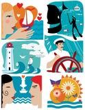 Uppsättning av symboler på ett tema av havet och sommaren Marin- begrepp Royaltyfri Fotografi