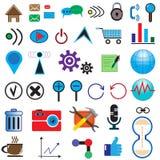 Uppsättning av 35 symboler på internet Royaltyfri Fotografi