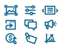 Uppsättning av symboler på internetmarknadsförings- och manöverenhetsbeståndsdelar Royaltyfri Fotografi