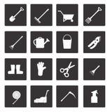 Uppsättning av symboler på tema för trädgårds- hjälpmedel Arkivbild