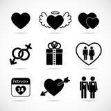 Uppsättning av symboler på temat av förälskelse och valentin dag royaltyfri illustrationer