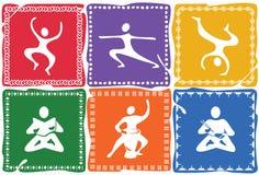 Uppsättning av symboler på temat av yoga, gymnastik och en sund livsstil vektor illustrationer