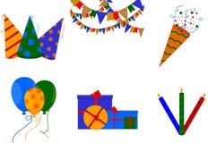 Uppsättning av symboler på temat av födelsedagen stock illustrationer