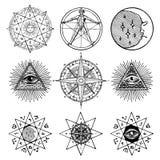 Uppsättning av symboler på temat av magi som är esoteriskt, murare stock illustrationer