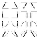 Uppsättning av symboler av pennor med en position för att skriva och position under texten, en raksträcka och sned krökning vekto stock illustrationer