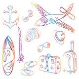 Uppsättning av symboler sommar och semesterbakgrund stock illustrationer