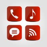 Uppsättning av symboler - telefon, wifi, musikanmärkning och meddelandesymboler stock illustrationer