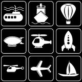 Uppsättning av symboler - transport, lopp, vilar Fotografering för Bildbyråer