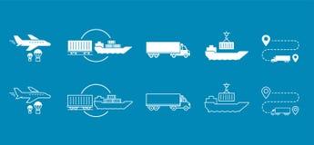 Uppsättning av symboler transporterat sändande leveranstrans. Fotografering för Bildbyråer