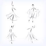 Uppsättning av symboliska balettdansörer vektor illustrationer